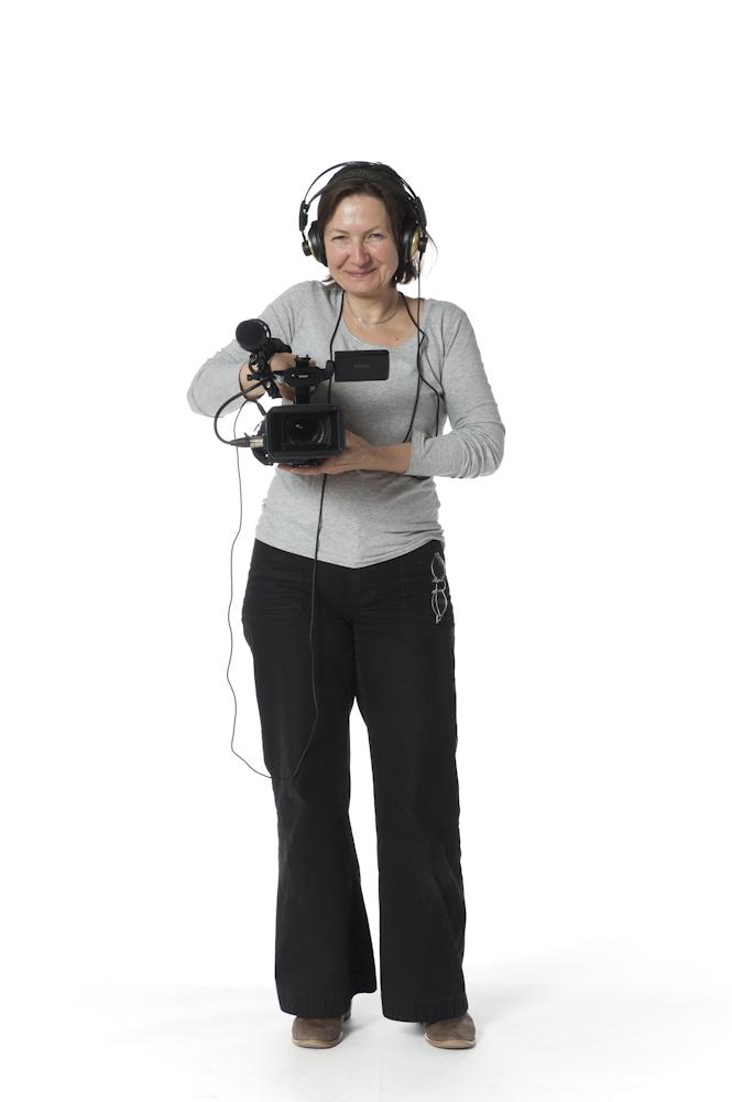Journalistin und Kamerafrau Brigitte Stecken auf unserer weißen Leinwand